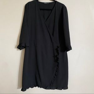 Reitmans black faux wrap dress with ruffle